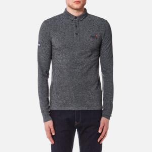 Superdry Men's City Long Sleeve Pique Polo Shirt - Vintage Dark Grey Grit