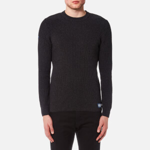 Superdry Men's University Waffle Crew Knitted Jumper - Black/Charcoal Twist