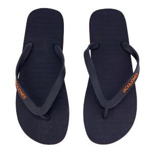Jack & Jones Men's Plain Flip Flops - Navy Blazer/Orange Ochre