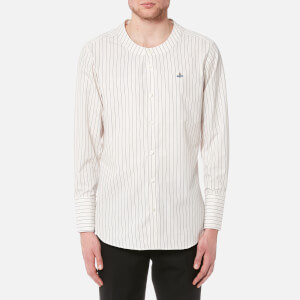 Vivienne Westwood MAN Men's Poplin Low Neck Stripe Shirt - White