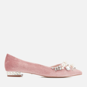 Carvela Women's Locket Velvet Pointed Flats - Nude
