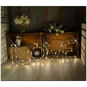 Lyyt Large LED Wire Frame Love Metal Motif - Warm White