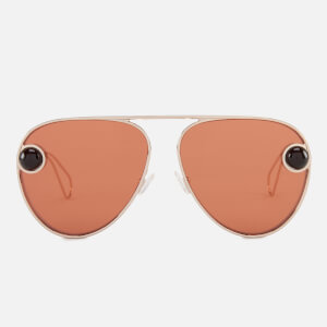 Christopher Kane Women's Aviator Sunglasses - Gold/Gold/Orange