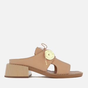 MM6 Maison Margiela Women's Open Toe Slip On Sandal with Wooden Block Heels - Sand