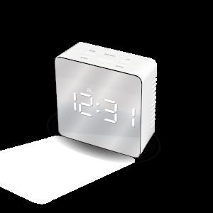 Mayhem WhiteIce Mirrored Clock - Grey/White