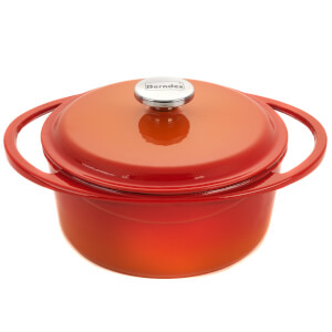 Berndes Cast Iron Round Casserole Dish with Lid - 24cm/4L - Red/Orange
