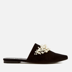 Sol Sana Women's Grace Velvet Pointed Flats - Black Pearl
