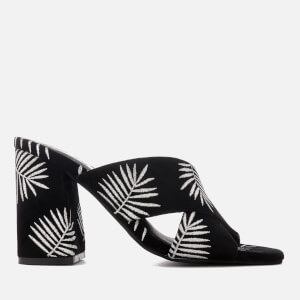 Sol Sana Women's Ginny Palm Embroidered Heeled Mules - Palm