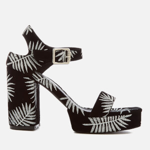 Sol Sana Women's Cathy Palm Embroidered Platform Heeled Sandals - Palm