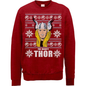Marvel Comics The Mighty Thor Face Christmas Knit Red Christmas Sweatshirt