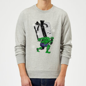 Marvel Comics The Incredible Hulk Christmas Present Grey Christmas Sweater