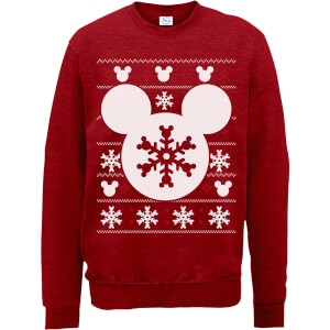 Disney Mickey Mouse Christmas Snowflake Silhouette Red Christmas Sweater