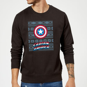Marvel Comics Captain America Caps Shield Black Christmas Sweatshirt