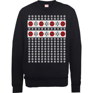 Marvel Deadpool Christmas Snowflakes Black Christmas Sweatshirt