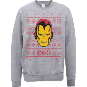 Marvel Comics The Invincible Ironman Face Grey Christmas Sweatshirt