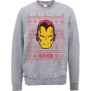 Marvel Comics The Invincible Ironman Face Grey Christmas Sweatshirt