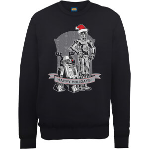 Star Wars Happy Holidays Droids Black Christmas Sweatshirt