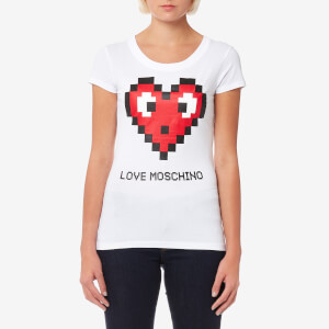 Love Moschino Women's Pixel Heart Logo T-Shirt - White