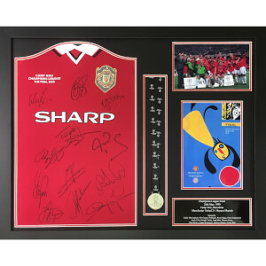 Manchester United 99 Framed Shirt Signed by 12 Players with Medal