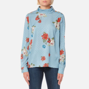 Gestuz Women's Natacha Rollneck Floral Printed Roll Neck Blouse - Light Blue Flower