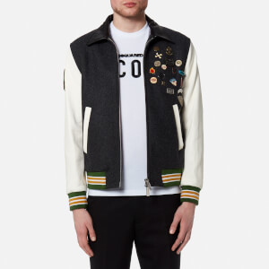 Dsquared2 Men's Wool Leather and Denim Jacket with Pins - Mixed Colours