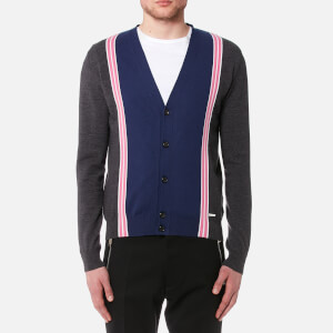 Dsquared2 Men's Striped Knitted Cardigan - Grey/White/Pink