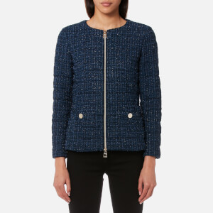 Herno Women's Short Tweed Jacket with Chain Belt - Navy