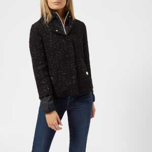 Herno Women's Tweed Short Jacket with Hood - Black