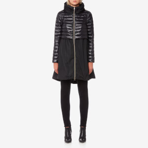 Herno Women's Long Coat with Top Half Quilted and Hood - Black
