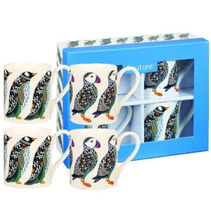 Paradise Birds Puffins and Penguins 4 Piece Mug Gift Set