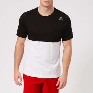 Reebok Men's Colour Block Short Sleeve T-Shirt - Black/White