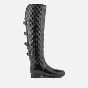 Hunter Women's Refined Over the Knee Gloss Quilted Boots - Black