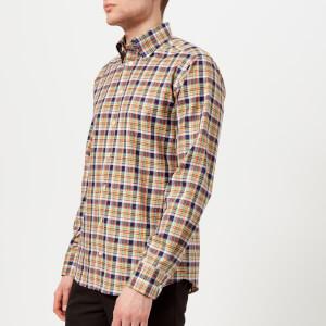 Eton Men's Slim Fit Check with Button Under Collar Shirt - Blue