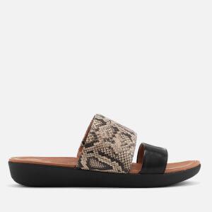 FitFlop Women's Delta Leather Slide Sandals - Taupe Snake/Black