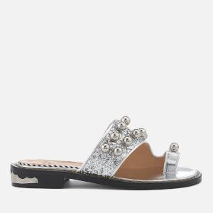 Toga Pulla Women's Glitter Double Strap Sandals - Silver