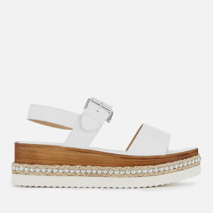 Dune Women's Kool Leather Double Strap Flatform Sandals - White