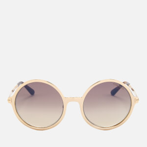 Tom Ford Women's Ava Round Frame Sunglasses - Rose Gold/Brown Mirror
