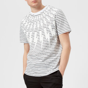 Neil Barrett Men's Fairisle Thunderbolt Striped T-Shirt - White