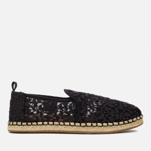 Toms Deconstructed Alpargata Rope Black Lace Leaves, Schuhe, Flache Schuhe, Espadrilles, Schwarz, Female, 36