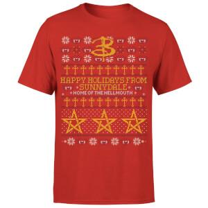 Camiseta Navidad Buffy, cazavampiros Happy Holidays From Sunnydale - Hombre - Rojo
