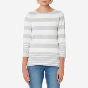 Joules Women's Harbour Jersey Top - Grey Marl Wide Stripe
