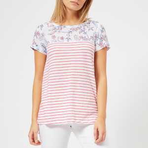 Joules Women's Suzy Jersey/Woven Mix T-Shirt - White Indienne Floral