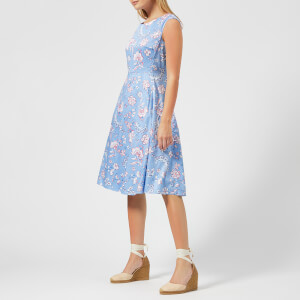 Joules Women's Amelie Fit and Flare Dress - Blue Indienne Floral