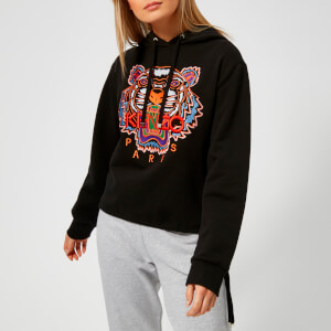 KENZO Women's Embossed Tiger Unbrushed Molleton Hooded Top - Black