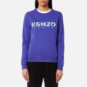 KENZO Women's Light Cotton Molleton Paisley Logo Sweatshirt - French Blue
