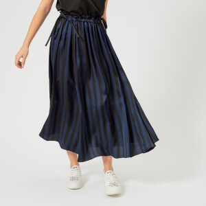 KENZO Women's Medium Stripes Viscose Jacquard Skirt - Black