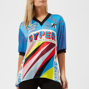 KENZO Women's Hyper Graphic Silk Satin Top - Turquoise