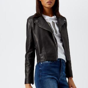 Armani Exchange Women's Nappa Leather Jacket - Black