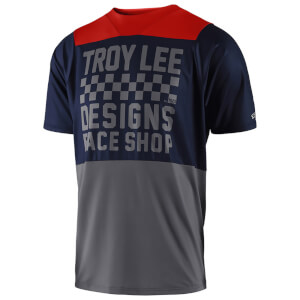 Troy Lee Designs Skyline Short Sleeved Checker Jersey - Navy/Grey