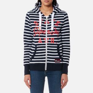 Superdry Women's State Ath Stripe Zip Hoody - Optic/Navy
